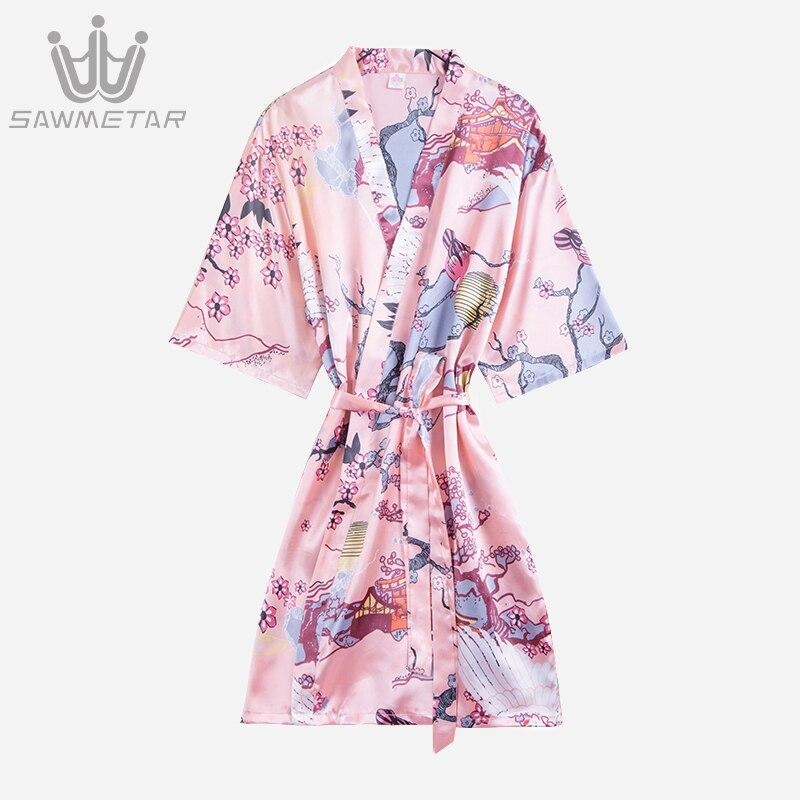 Women Silk Robe Sexy Satin Bathrobe Wedding Robe Bridesmaid Robes Summer Women Print Kimono Flower Sleepwear Dressing Gown