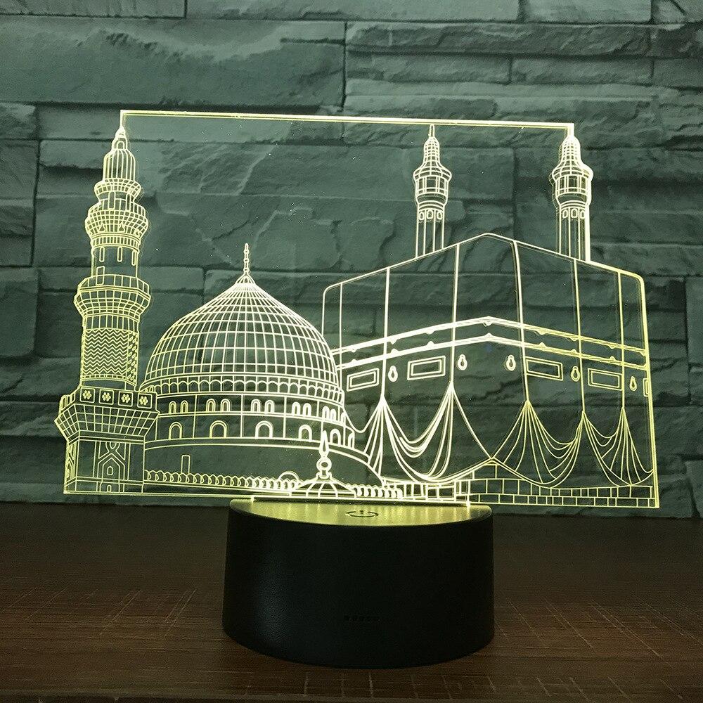 Temple Castle Palace Touch Sensor dormitorio decoración de oficina mezquita Lampara luz nocturna para Ramadán musulmán regalo luz de noche Led 3d lámpara