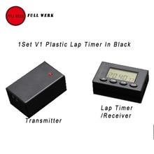 Chronomètre sans fil ultra-fin V1   Dispositif plastique à infrarouge, chronomètre récepteur piste de course automatique, horloge de jour, noir 1 ensemble