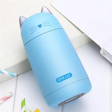 Garrafas de vácuo mini caneca de vácuo gato bonito miúdo garrafa térmica de aço inoxidável garrafa de água quente copo de viagem garrafa térmica moda quente