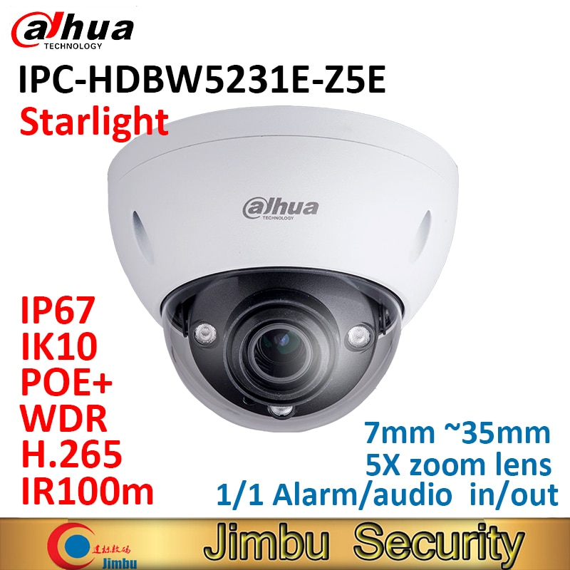 Dahua cámara domo IP IPC-HDBW5231E-Z5E starlight 2MP POE + WDR IR100m 7mm ~ 35mm 5Xzoom lente IP67 IK10 alarma entrada/salida de audio