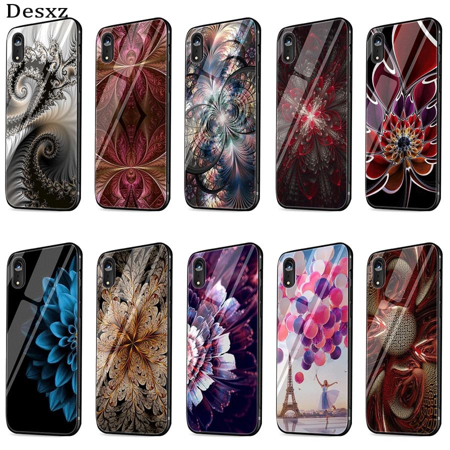 Handy Fall Glas Für iPhone 5 5s SE 6 6s 7 8 Plus X XS Max XR abdeckung Fractal Kunst Tapete Shell