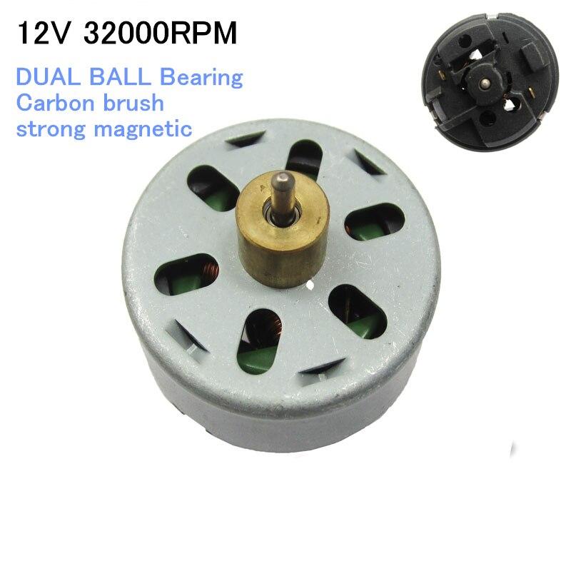 MINI 775 DC do motor 12 V 32000 RPM Rolamento DE ESFERA DUPLA escova De Carbono magnético forte