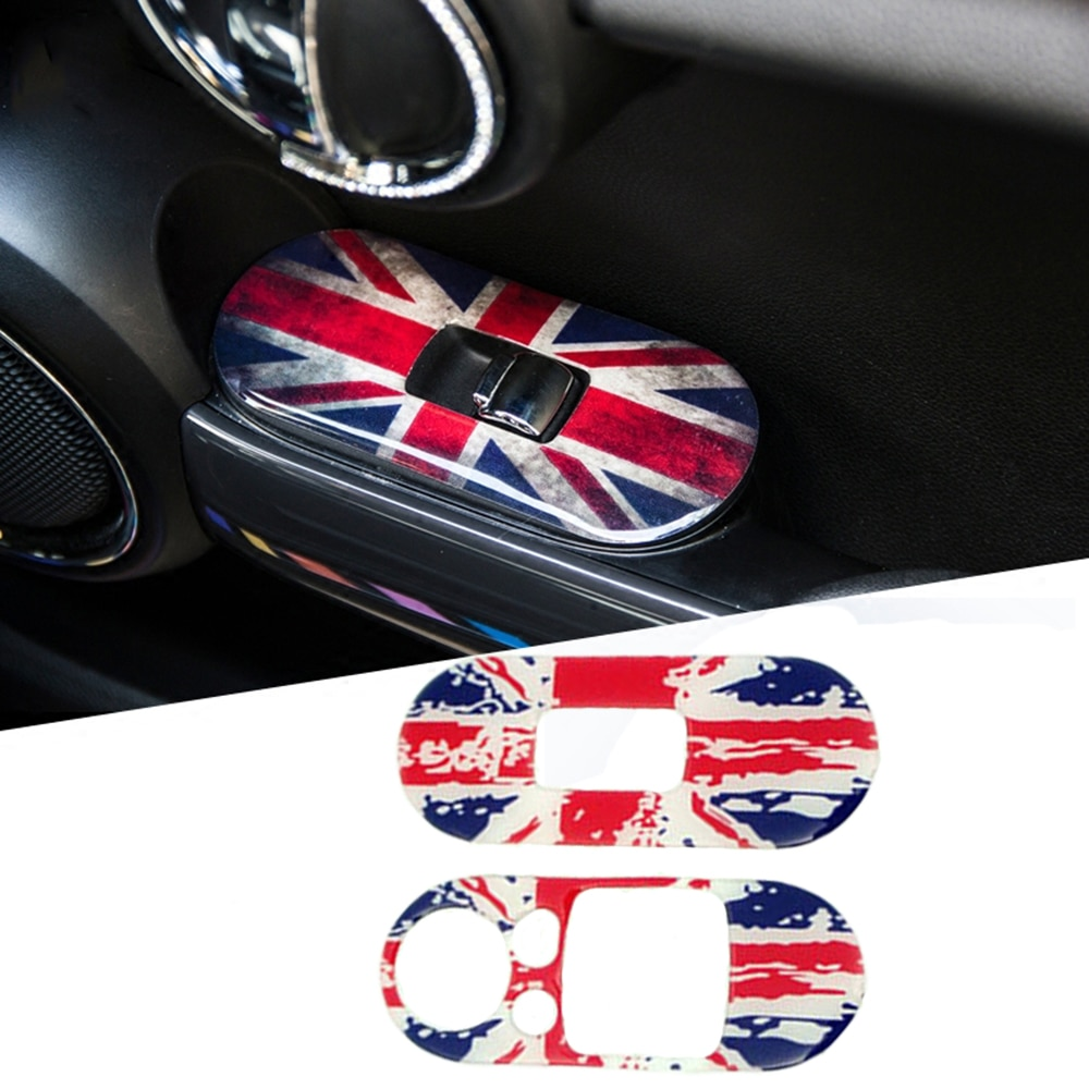 2 uds coche puerta lateral elevador de ventana interruptor Panel de Control cubre pegatinas pegatina para Mini Cooper JCW F56 F55 accesorios de estilo de coche