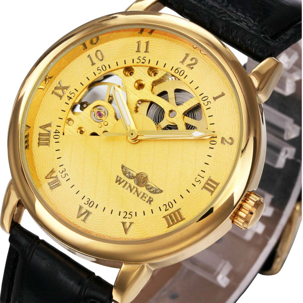 Top Brand Luxury Gold Watch Men Mechanical Watches Fashion Skeleton Watch Leather Strap Mechanical H