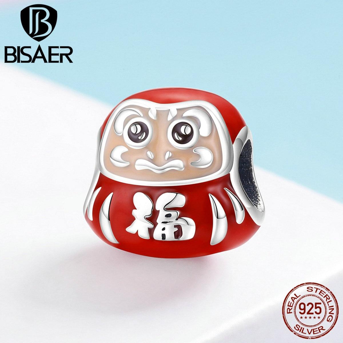 Браслеты для девочек BISAER Lucky, из стерлингового серебра 925 пробы, японская Дарума, амулеты с Красной эмалированной подвеской, сделай сам, ECC1087