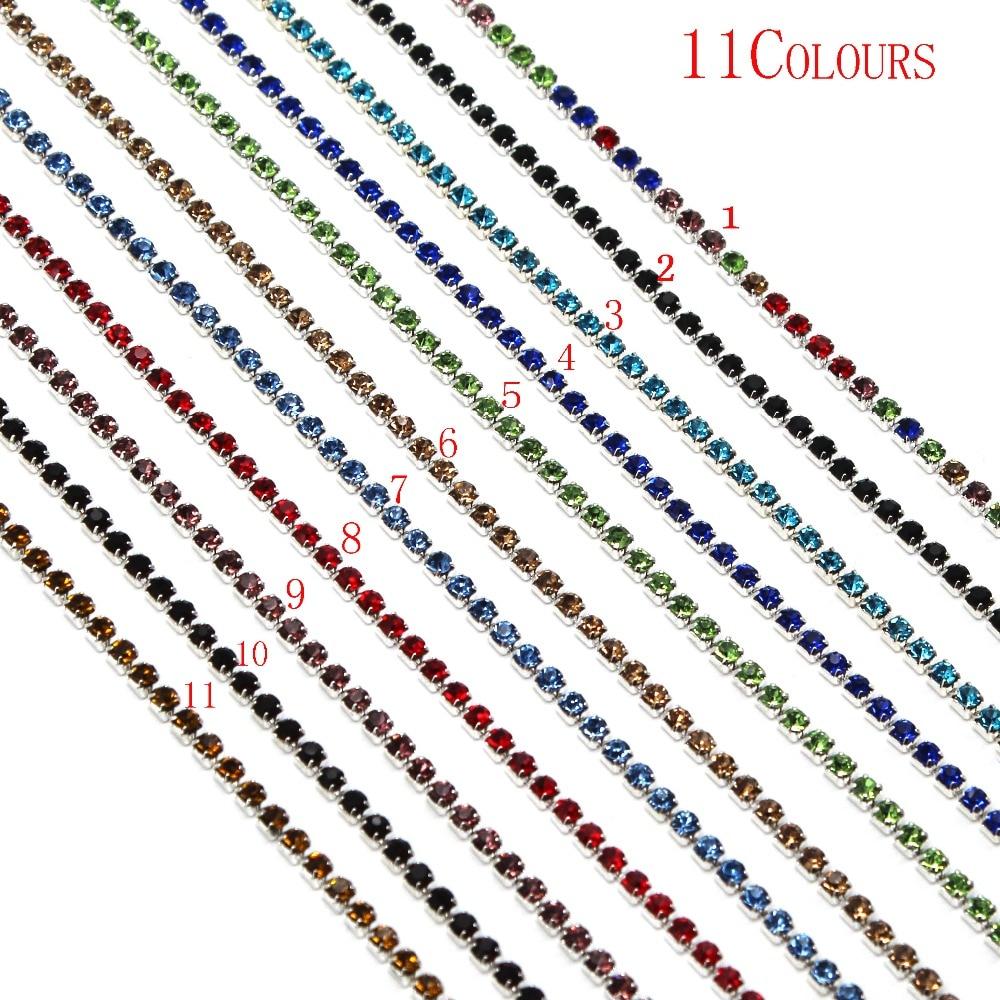 11 cores 1 jardas strass perto corrente clara guarnição costura 2mm 2.5mm ouro andsliver chapeado acessórios de vestuário
