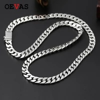 oevas fine jewelry 925 sterling silver jewelry link chain necklace top quality thai silver mens 8mm heavy chain 60cm