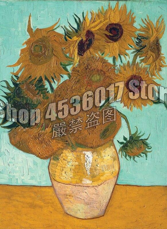 Jarrón de bordado de diamantes completo con los 12 girasoles Van Gogh 5D Diy, pintura de diamante, punto de cruz, conjuntos de mosaicos decorativos para el hogar