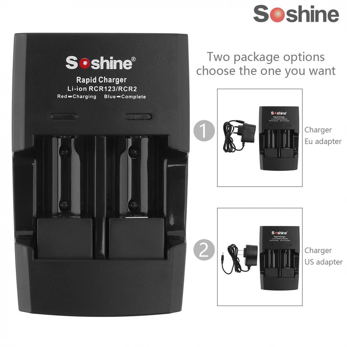 Soshine 2 ranuras Li-ion RCR123 / RCR2 cargador inteligente rápido de batería con indicador LED para batería 14250 / CR2 / 16340 / 17335
