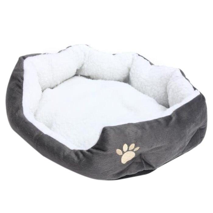 Pratique 50x40cm agneau chien patte motif nid danimaux chaud lavable lit couchage polaire panier avec coussin pour chiot chien Ca