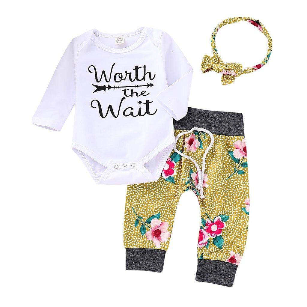 SZYADEOU Baby Clothes Set Baby Letter Arrow Print Romper+Kids Floral Pants+Hat+Headband Toddler Outfits vestido infantil C5
