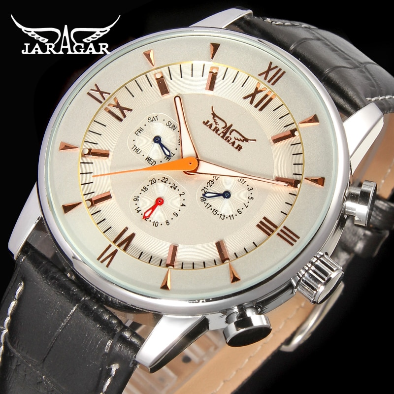 Jargar  JAG6901M3S2 Automatic  dress wristwatch silver color with black leather steel  band for men hot selling free shipping