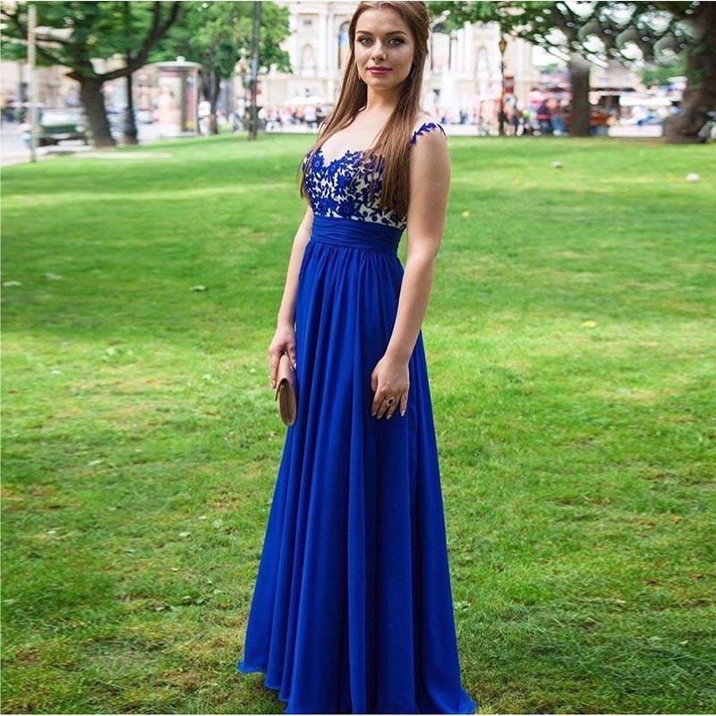 Vestido De noche azul real con cuello en V y pliegues De raso 2019 para mujer, vestido Formal De fiesta, corpiño De ilusión, vestido De noche De longitud completa