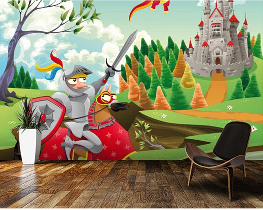 Custom children's wallpaper,Brave Knight,Castle and Dragon,3D cartoon photos for children's bedroom boy girl room wall wallpaper