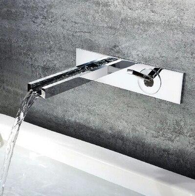 حنفية حمام مثبتة على الحائط مع تشطيب نحاسي كروم ، ماركة جديدة ، شلال