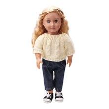 Vêtements de poupée Beige pull + pantalon noir jouet accessoires ajustement 18 pouces fille poupée et 43 cm bébé poupée c161