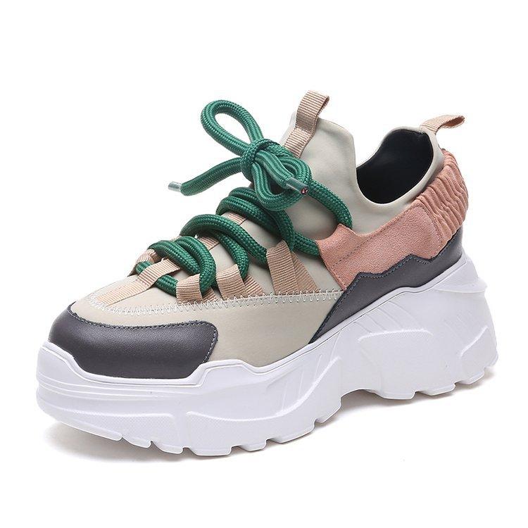 2019 moda coreana Withe zapatillas de plataforma zapatos de mujer Casual zapatos de suela gruesa para mujer negro grueso zapatillas de mujer Chaussure Femme