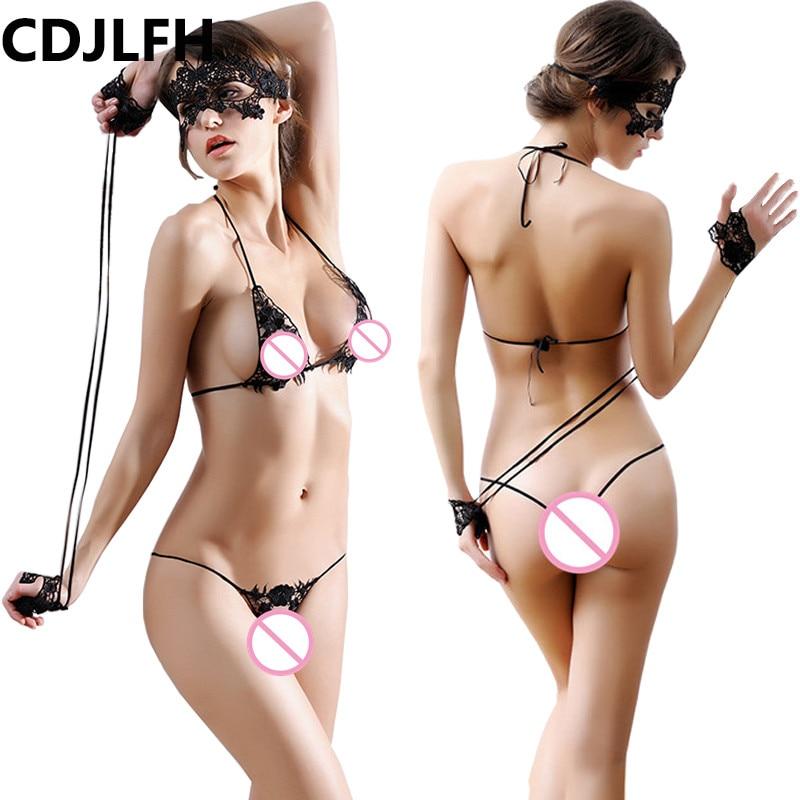 CDJLFH Women Sexy Lace Embroidery Bra Set Wire Free Transparent Bra + Brief + Mask + Handcuffs Fashion Underwear Lingerie Suit