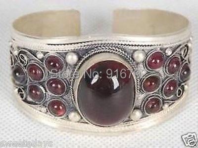 Livre p & p hu632>> pulseira de prata real tibet embutida chalcedônia adjustable