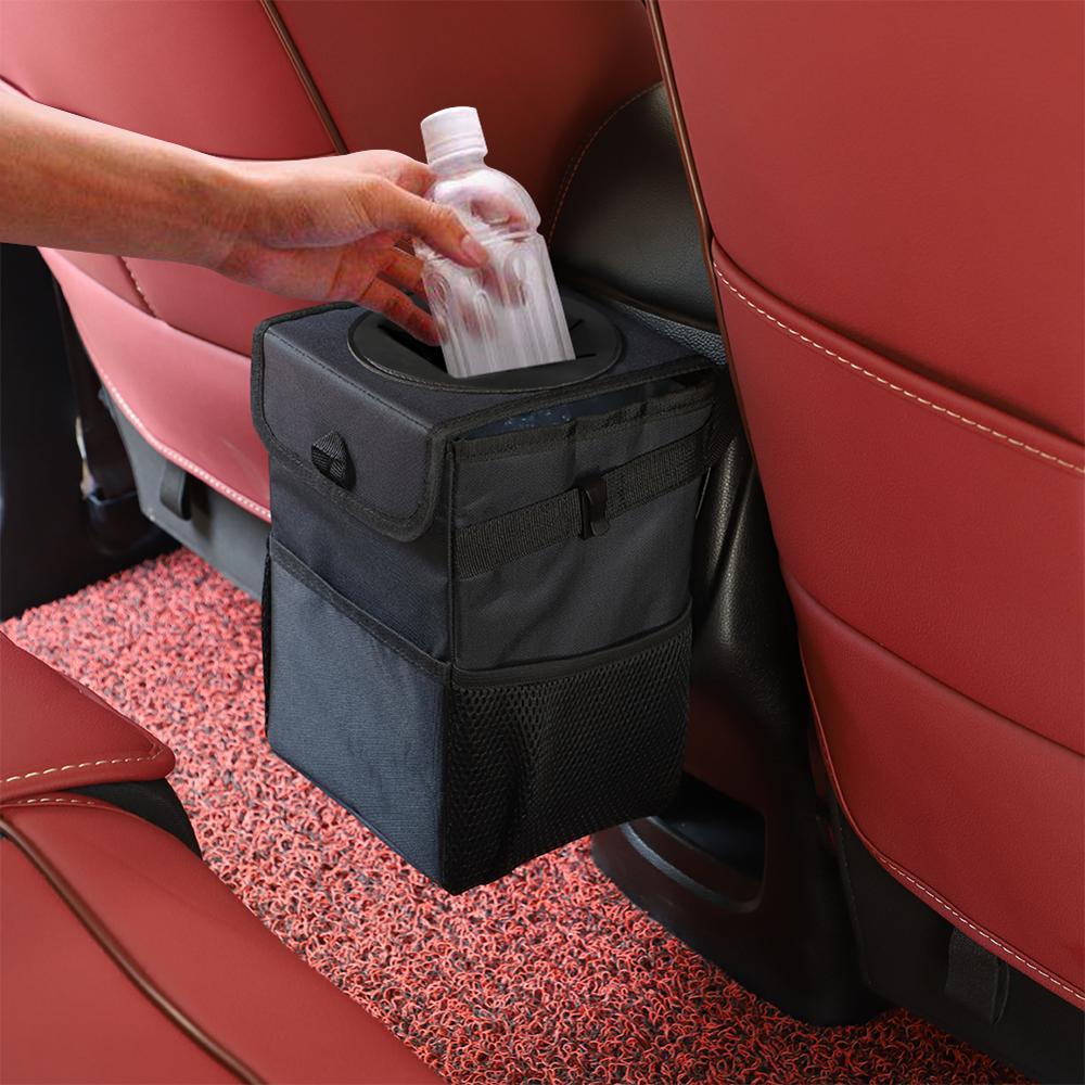 Waterproof Car Trash Can Bin Auto Car Accessories Organizer Garbage Dump For Trash Can Cars Storage Pockets Closeable Portable
