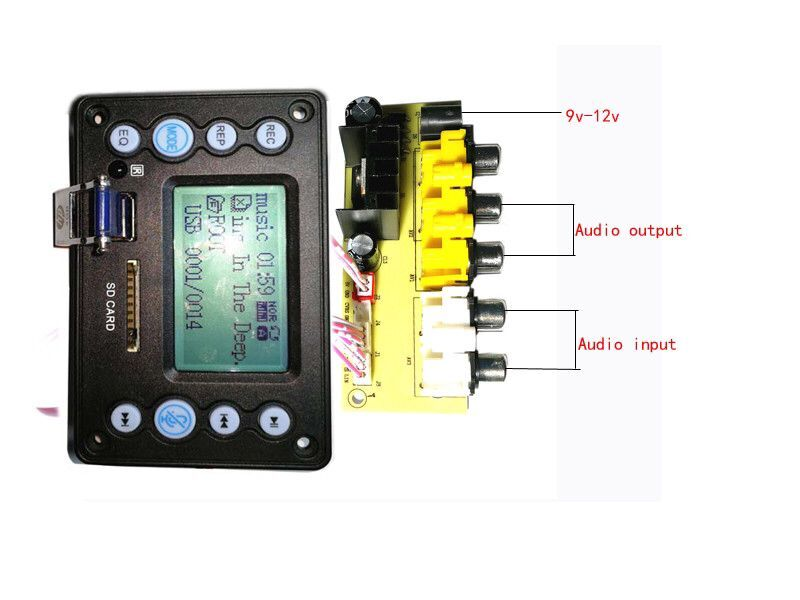 9-12 В плата для конверсии мощности 4,2 Bluetooth, аудио вход, запись, радио, дисплей лирики APE, FLAC, WMA, WAV, MP3 декодер, плата