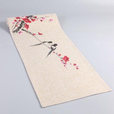 La mano de pintura flor pájaro chino corredor de la tabla de arpillera decoración Navidad paño de mesa Rectangular café mesa de té Mat mantel