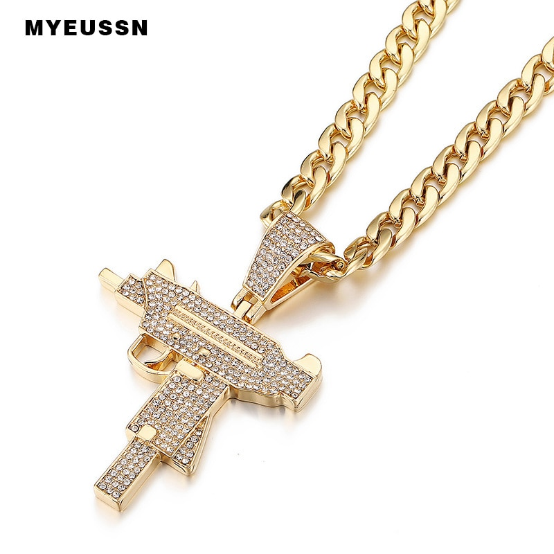 Colgante de cristal con diamantes de moda Submachine Gun, collar con amuleto de color dorado/plateado, joyería Hip Hop, collar Punk de Cuba