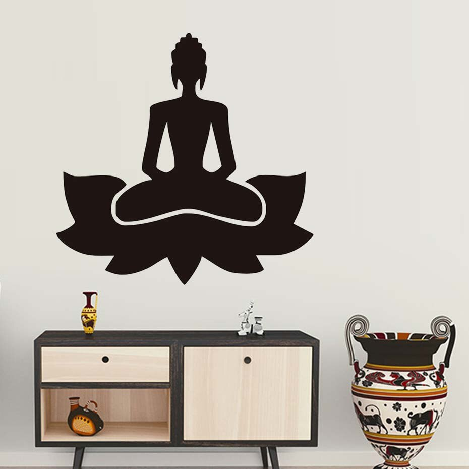 DCTOP meditación Yoga Lotus Pose extraíble vinilo adhesivo de pared para sala de estar budismo impreso pared arte calcomanías decoración del hogar