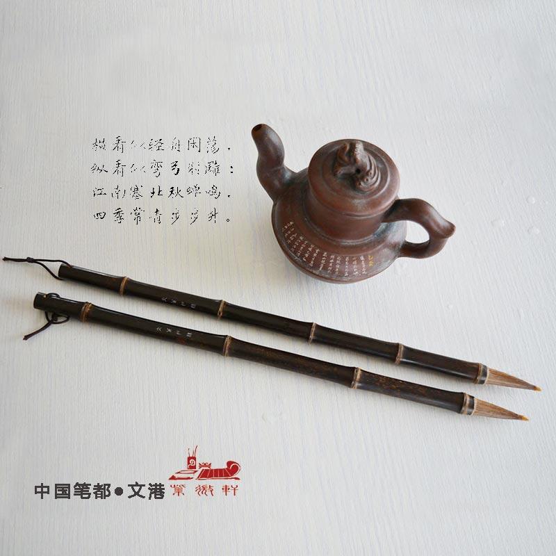 Chinese painting brush Natural bamboo pole horse Hair regular script cursive calligraphy writing brush pen painting calligraphy