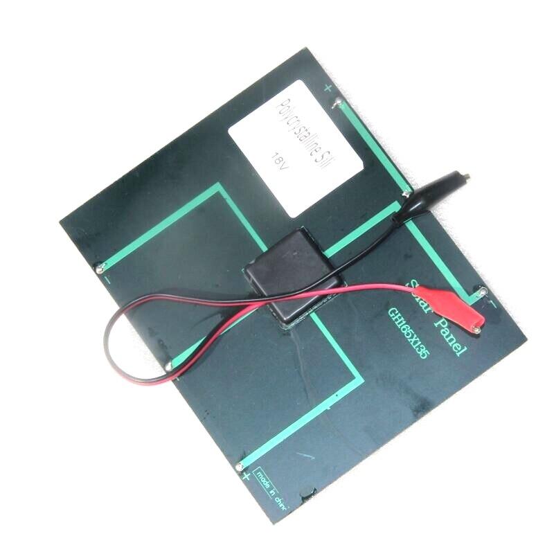 BUHESHUI 3.5W 18V Solar Cell Polycrystalline Solar Panel+Crocodile Clip For Charging 12V Battery 165*135MM 10pcs/lot Wholesale