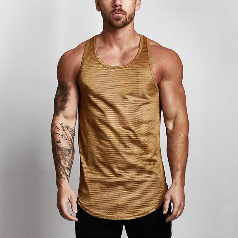 Muscleguys, camiseta sin mangas de malla para hombre, ropa de Fitness, verano 2019, chaleco muscular para gimnasio, camiseta sin mangas