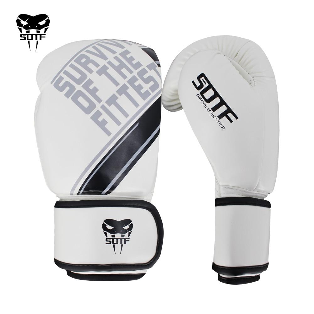 SOTF mma Adults Venomous snake white Black fierce fighting boxing gloves Tiger Muay Thai mma gloves fight boxe thai sanda glove