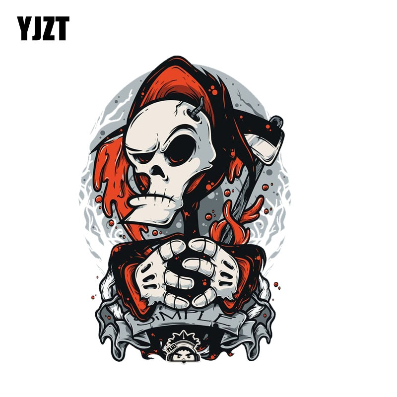 YJZT 10.7CM*15.5CM Car Accessories  Cartoon Skull Funny Motorcycle Car Sticker Decal 6-2312