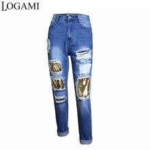 LOGAMI vaqueros de cintura alta de novio de la mujer Jeans rasgados para damas recto Patchwork Denim Pantalones Pantalon Mujer