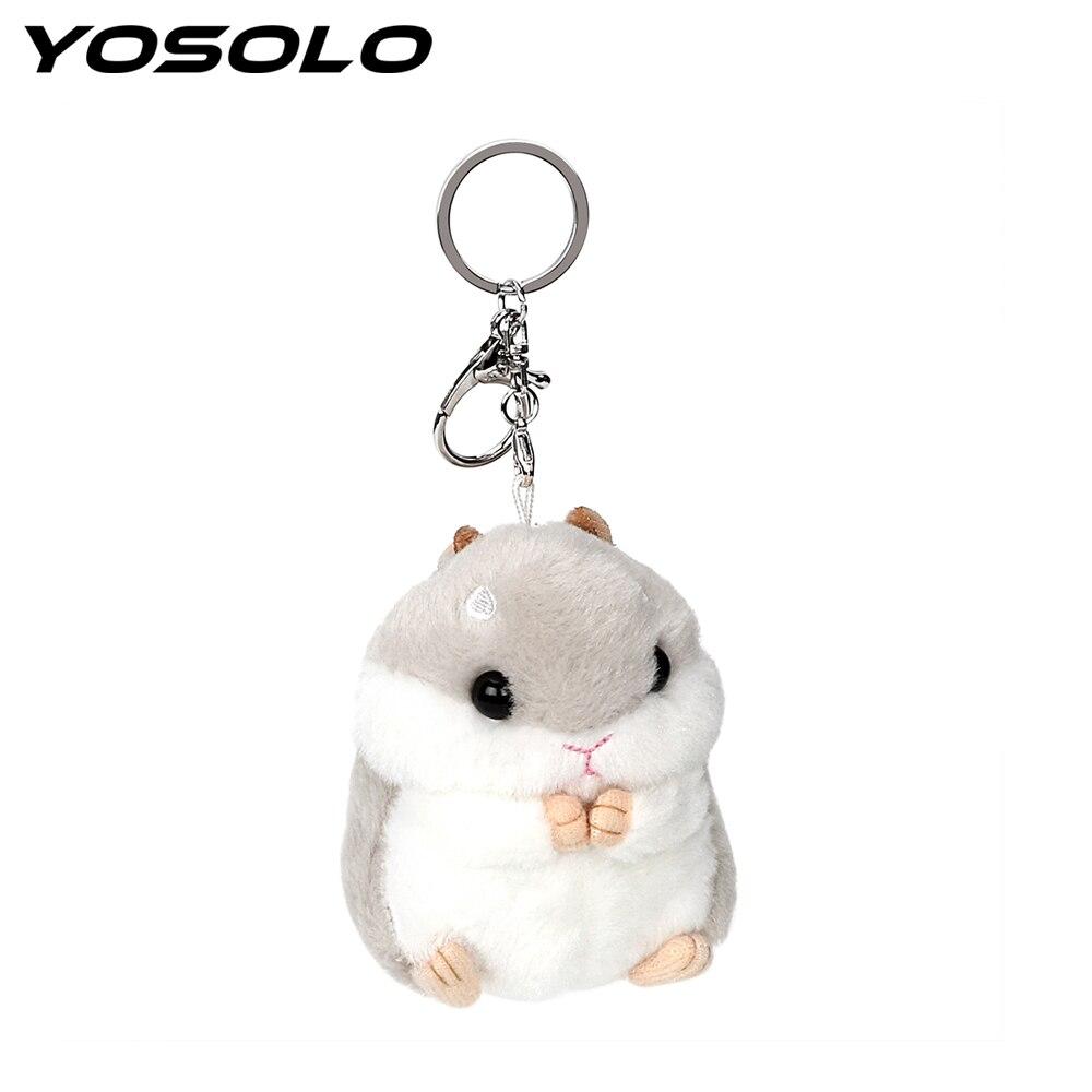 Yosolo bonito hamster chaveiro brinquedos de pelúcia decoração adorável chaveiro do carro chaveiro animal bonecas chaveiro acessórios interiores automóvel