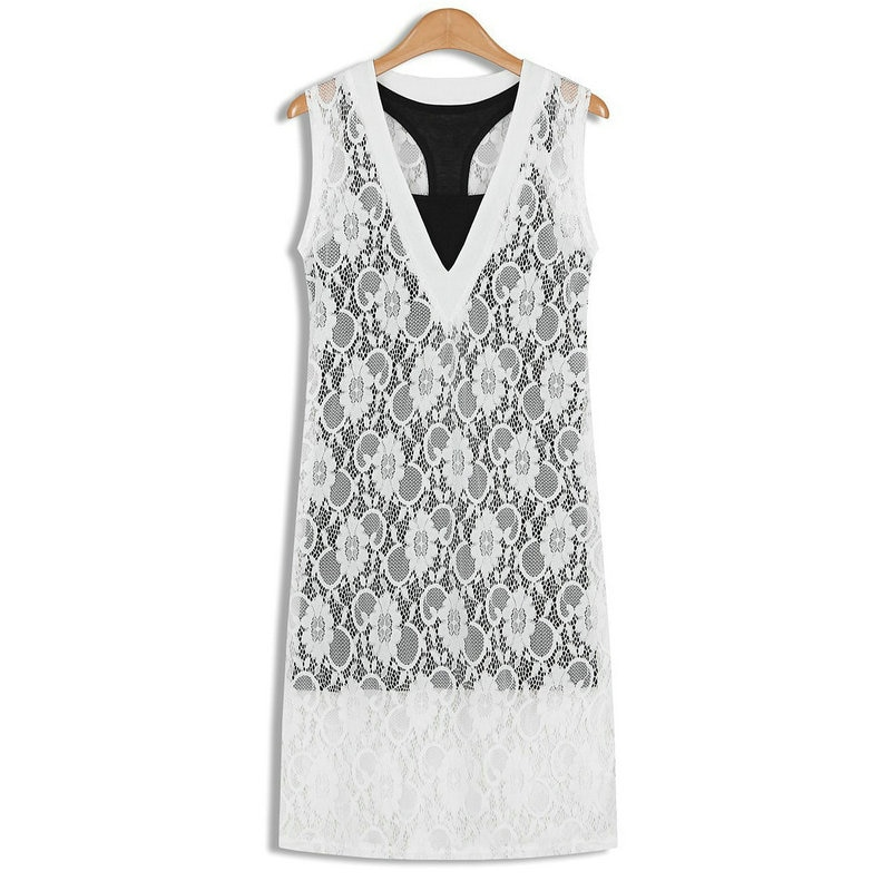 2020 Summer New Women's V-neck Fashion Crochet Sleeveless Vest Lace Dress Female Dresses Two-piece set Women fairy Dresses