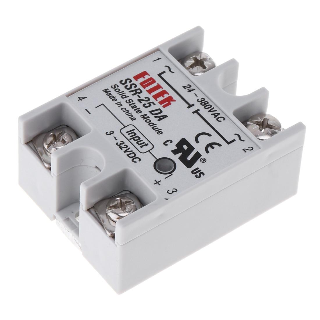 SSR-25DA módulo de relé de estado sólido entrada 3-32 v dc para saída 24 v-380 v ac 25a para a maquinaria de controle remoto/instrumentos médicos