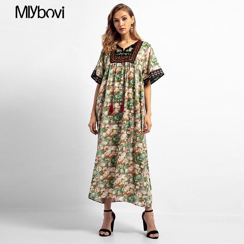 2019 Primavera Mulheres Bordados Abaya Árabe Muçulmano Vestido O Pescoço Manga Curta Feminina Turco Dubai Vestido Longo Maxi Com Borlas