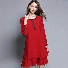 2017 Autumn Fashion Ladies Plus size ruffled chiffon dress beaded elegant one-piece dresses female casual vestidos M-XXXXXL 2768