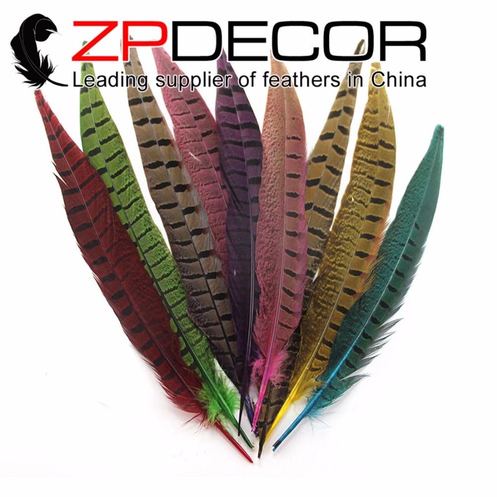 ZPDECOR 500 unids/lote 25-30cm (10-12 pulgadas) Selección manual de colores teñidos con Faisán de cola de cuello redondo para artes y artesanías
