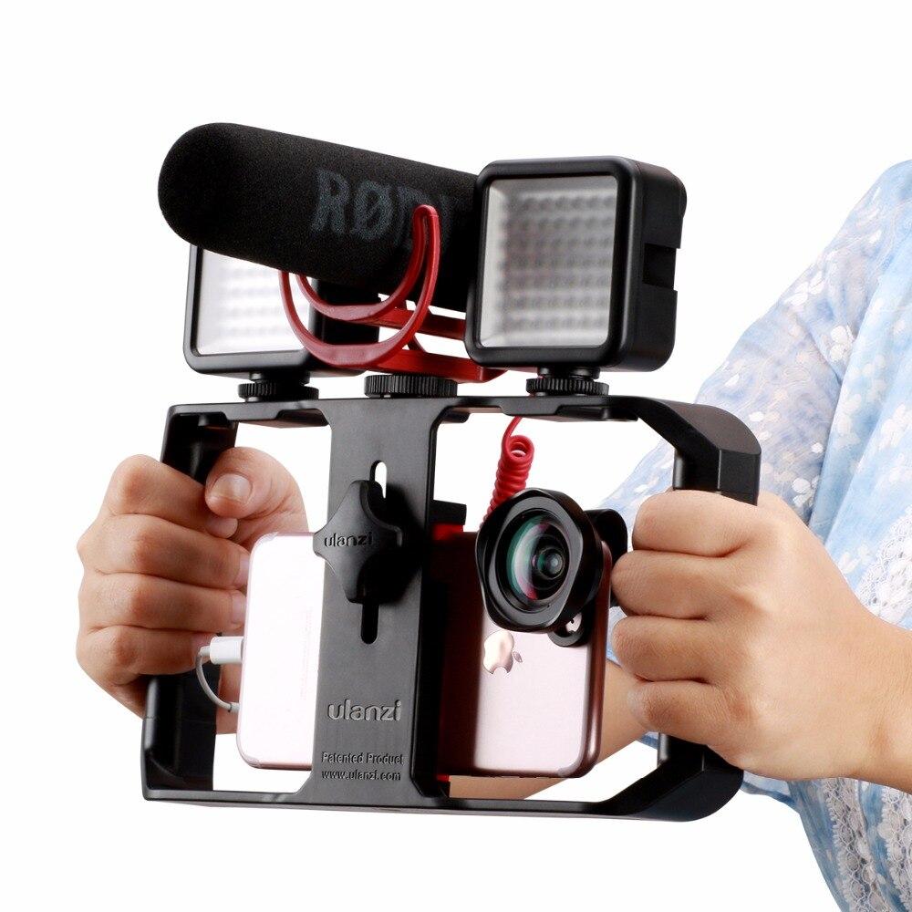DIGITALFOTO Ulanzi teléfono inteligente Video mango Rig película móvil estabilizador caso con micrófono con luz para película youtube live