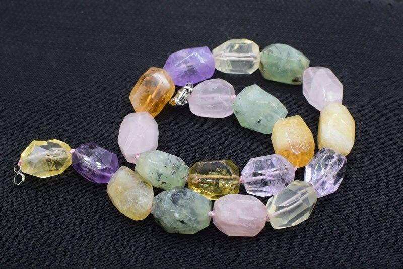 "Ametista/citrino/prehnite/lemon quartz/quartzo rosa/colar barroco facetada 15-20 milímetros 17 ""natureza FPPJ grânulos por atacado"