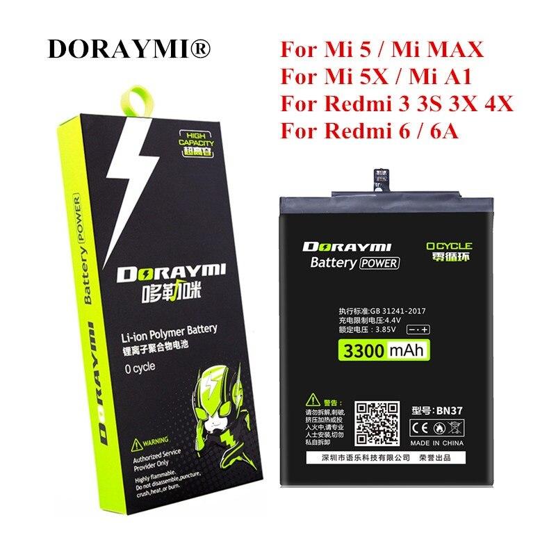 DORAY mi BN31 BN37 BM22 BM47 BM49 batería para Xiaomi mi 5 5X A1 Max rojo mi 3 3S 3X 4X 6 6A nota 5A Pro Y1 Lite de reemplazo de batería