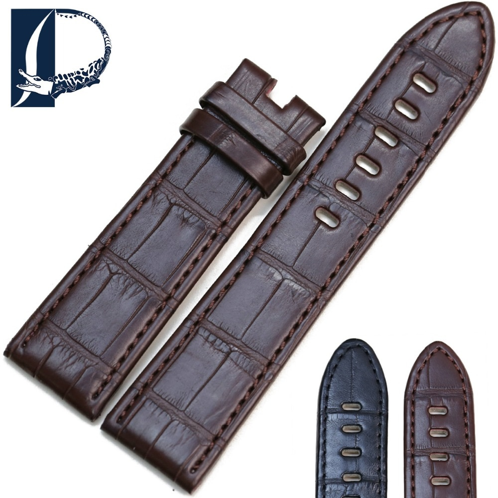 Pesno adequado para timewalker estrela preto marrom couro de crocodilo acessórios de relógio pulseira de relógio de couro genuíno para relógio masculino