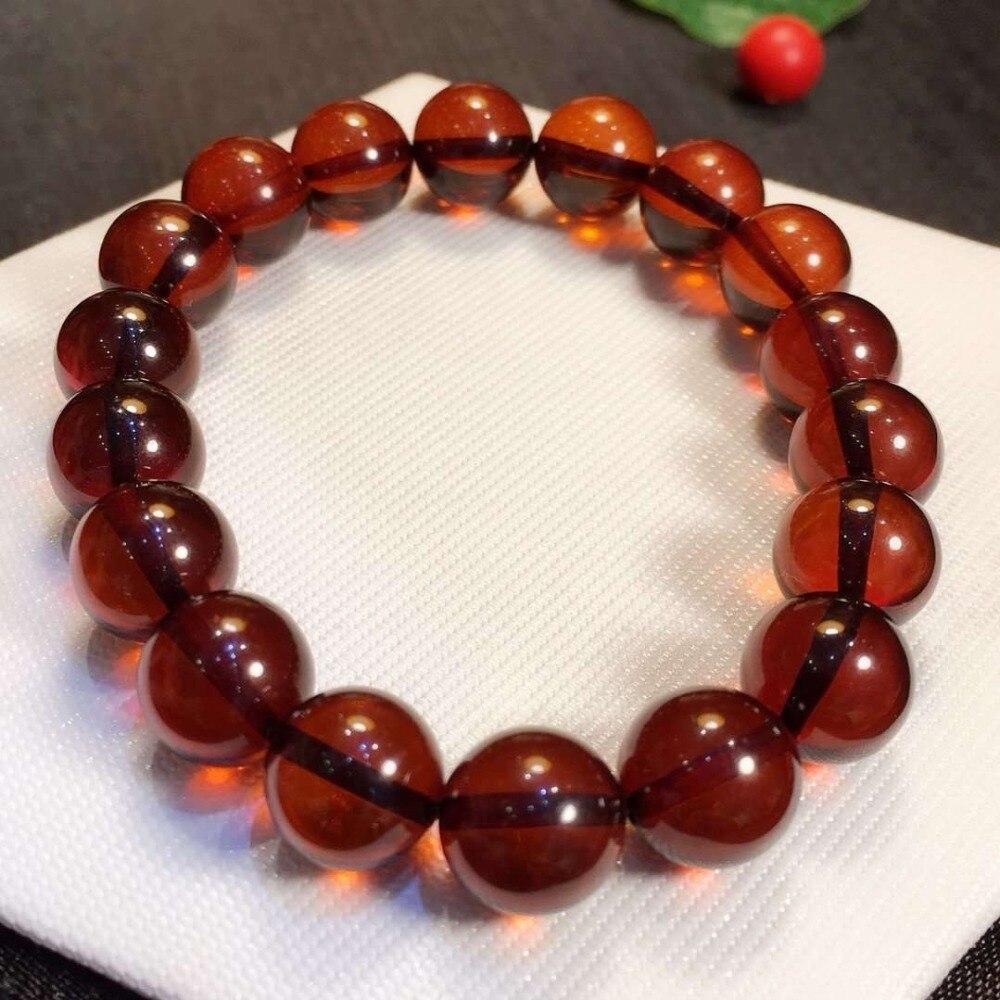 Genuine Natural Amber Blood Red Round Beads Bracelet Fashion Reiki Stone 10mm Woman Man Gemstone Drop Shipping Certificate AAAAA