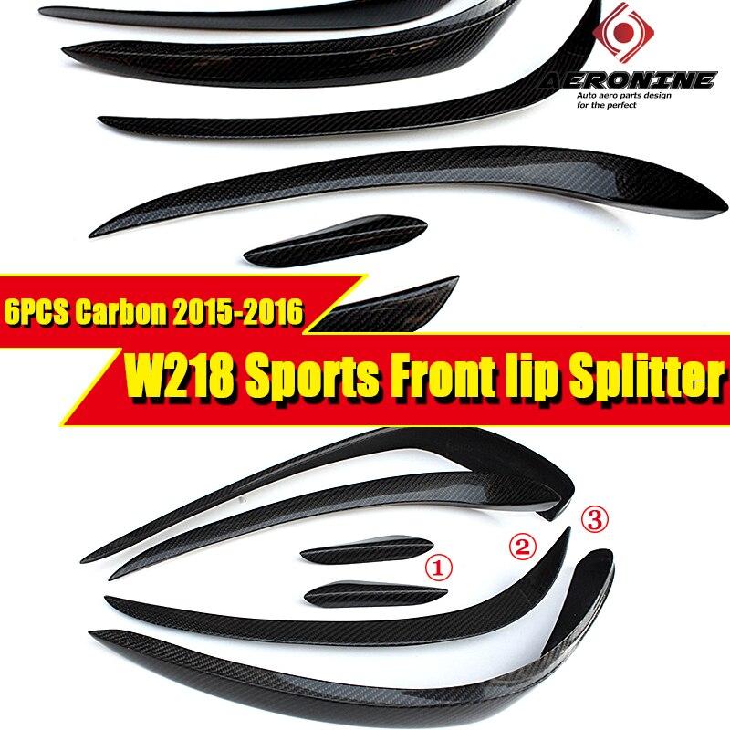 Fibra de carbono parachoques delantero de coche Splitters de labio Vent Trims Canards 6 uds para Mercedes Benz W218 cls-class Sedan 4 puertas 2015-2017