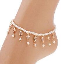 Bracelets sur les pieds de la vie en gros femmes plage pieds nus sandale pied perle perle bijoux cheville chaîne gland Pesca