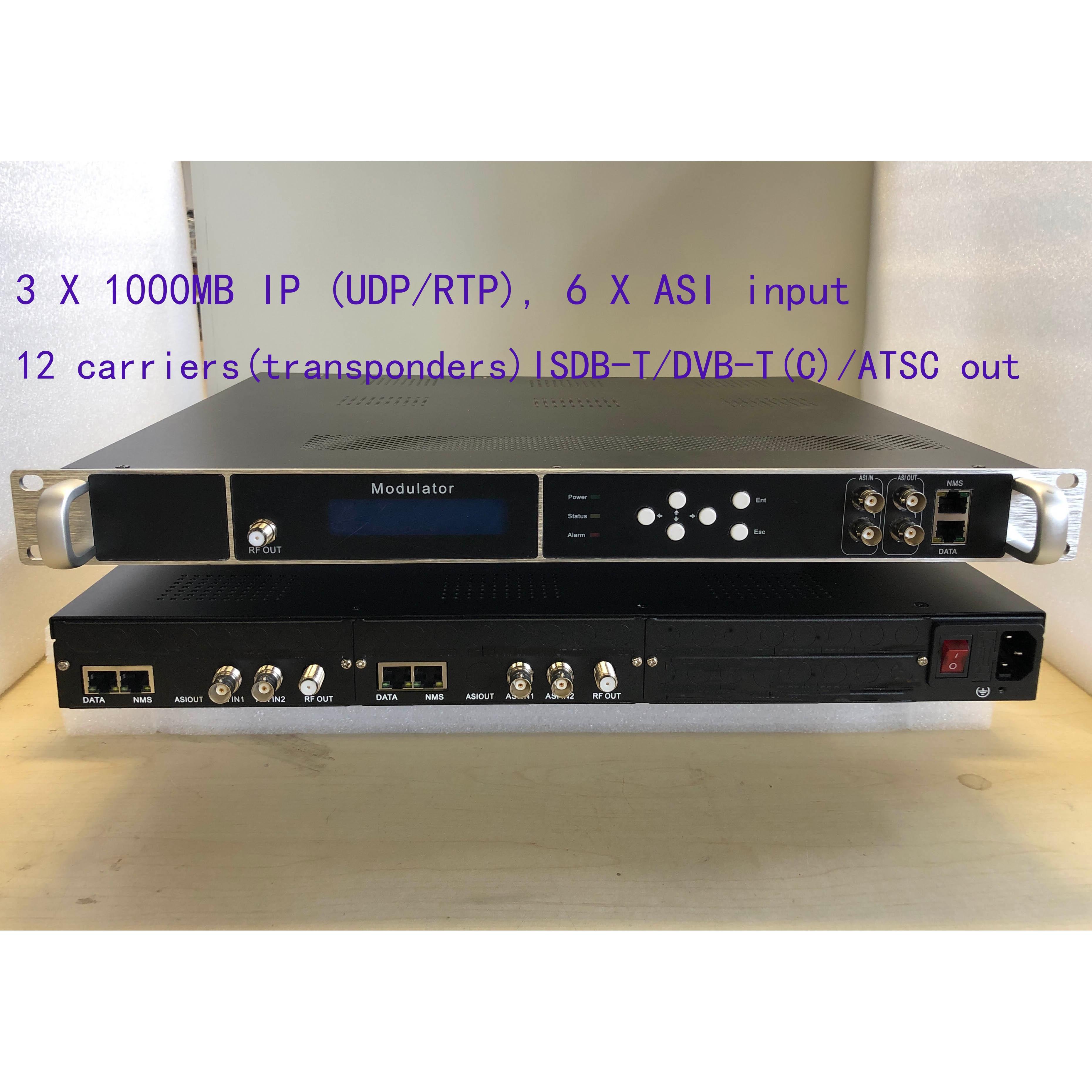 12 soportes de modulador digital ATSC, giga IP a modulador ATSC, catv modulador digital, con salida 2 ASI