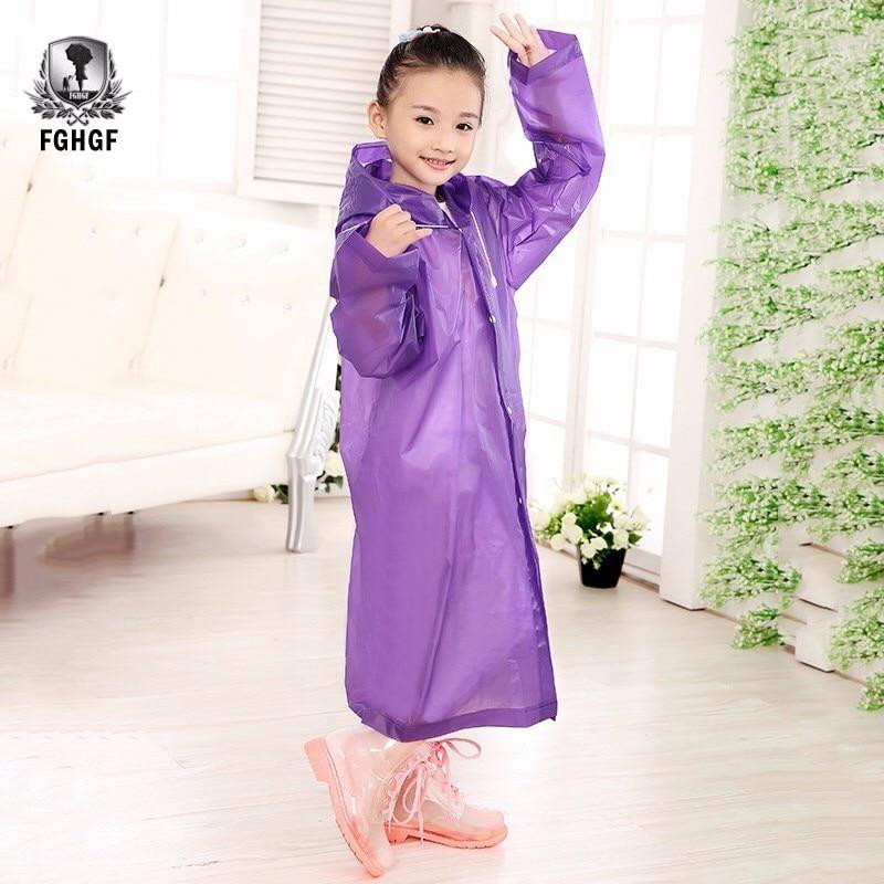 Chubasquero FGHGF EVA grueso transparente a la moda para niños y niñas, para exteriores, para senderismo, chaqueta para niños, seis colores a elegir
